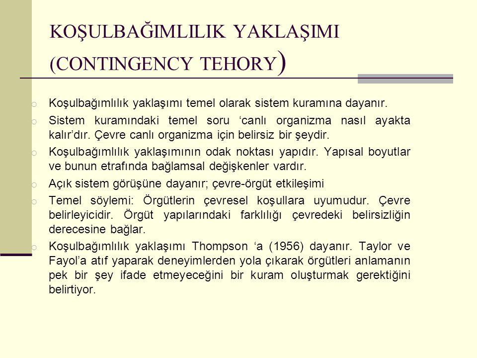 KOŞULBAĞIMLILIK YAKLAŞIMI (CONTINGENCY TEHORY ) o Koşulbağımlılık yaklaşımı temel olarak sistem kuramına dayanır. o Sistem kuramındaki temel soru 'can