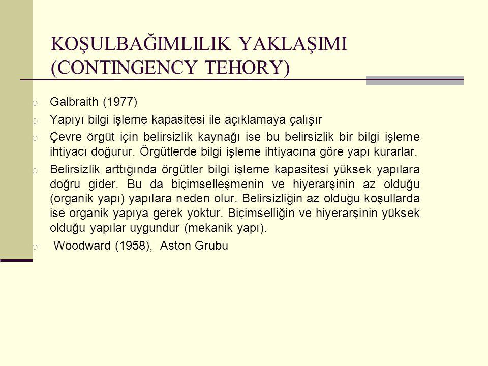 KOŞULBAĞIMLILIK YAKLAŞIMI (CONTINGENCY TEHORY) o Galbraith (1977) o Yapıyı bilgi işleme kapasitesi ile açıklamaya çalışır o Çevre örgüt için belirsizl