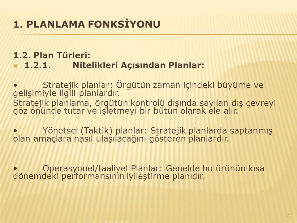 1. PLANLAMA FONKSİYONU 1.2. Plan Türleri:  1.2.1.Nitelikleri Açısından Planlar: Stratejik planlar: Örgütün zaman içindeki büyüme ve gelişimiyle ilgil