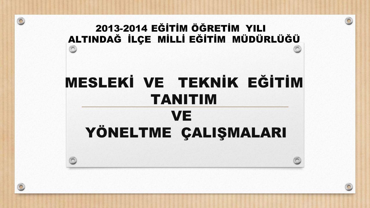 2013-2014 Eğitim-Öğretim yılı, Ankara İl Milli Eğitim Müdürlüğü'nün Mesleki ve Teknik Eğitim Tanıtım ve Yöneltme çalışmalarıyla ilgili yapılan toplantıda anlatılanları aktarmak; ve okullardan beklentilerimizi ifade etmek, TOPLANTININ AMACI;
