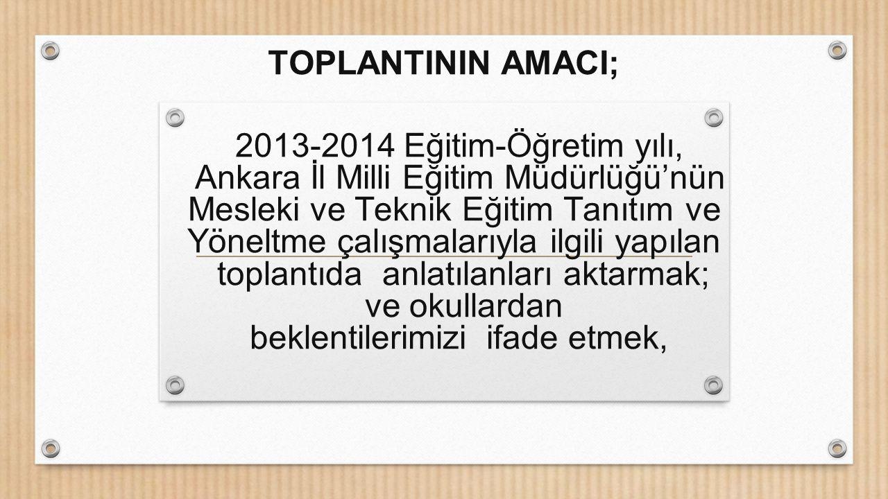 2013-2014 Eğitim-Öğretim yılı, Ankara İl Milli Eğitim Müdürlüğü'nün Mesleki ve Teknik Eğitim Tanıtım ve Yöneltme çalışmalarıyla ilgili yapılan toplant