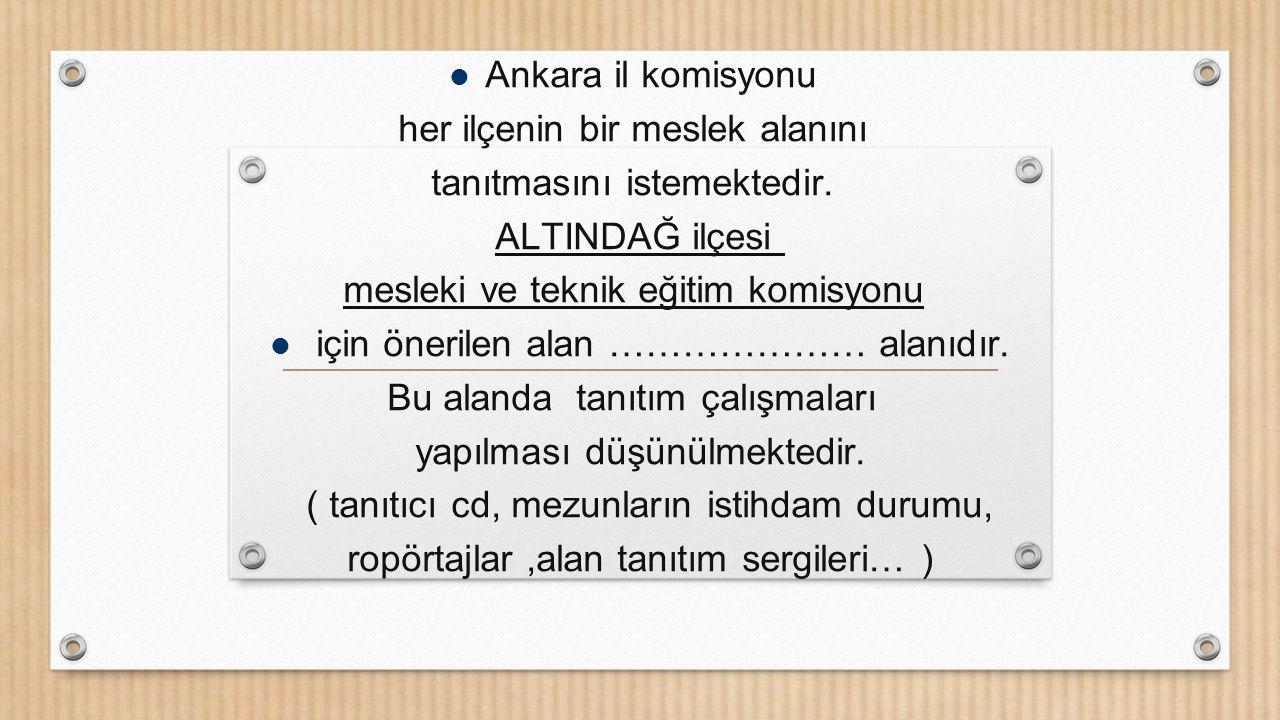 Ankara il komisyonu her ilçenin bir meslek alanını tanıtmasını istemektedir. ALTINDAĞ ilçesi mesleki ve teknik eğitim komisyonu için önerilen alan ………