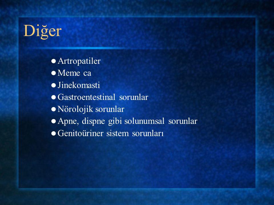 Diğer Artropatiler Meme ca Jinekomasti Gastroentestinal sorunlar Nörolojik sorunlar Apne, dispne gibi solunumsal sorunlar Genitoüriner sistem sorunlar