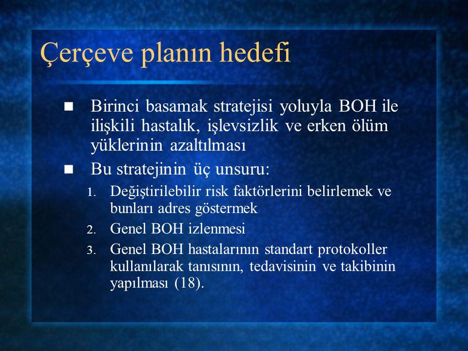 Çerçeve planın hedefi Birinci basamak stratejisi yoluyla BOH ile ilişkili hastalık, işlevsizlik ve erken ölüm yüklerinin azaltılması Bu stratejinin üç