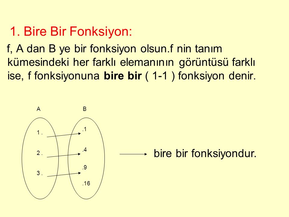 Fonksiyon Çeşitleri 1.Birebir Fonksiyon 2.Örten Fonksiyon 3.İçine Fonksiyon 4.Birim (Özdeş) Fonksiyon 5.Sabit Fonksiyon
