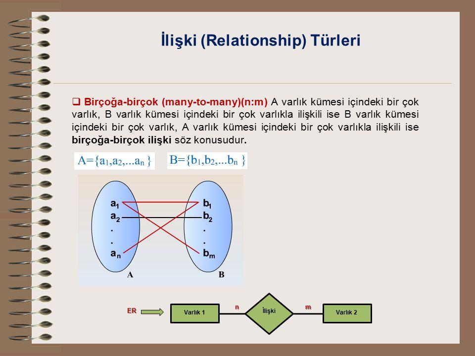 İlişki (Relationship) Türleri  Birçoğa-birçok (many-to-many)(n:m) A varlık kümesi içindeki bir çok varlık, B varlık kümesi içindeki bir çok varlıkla