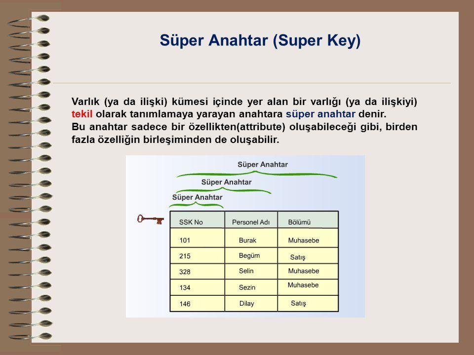 Süper Anahtar (Super Key) Varlık (ya da ilişki) kümesi içinde yer alan bir varlığı (ya da ilişkiyi) tekil olarak tanımlamaya yarayan anahtara süper an