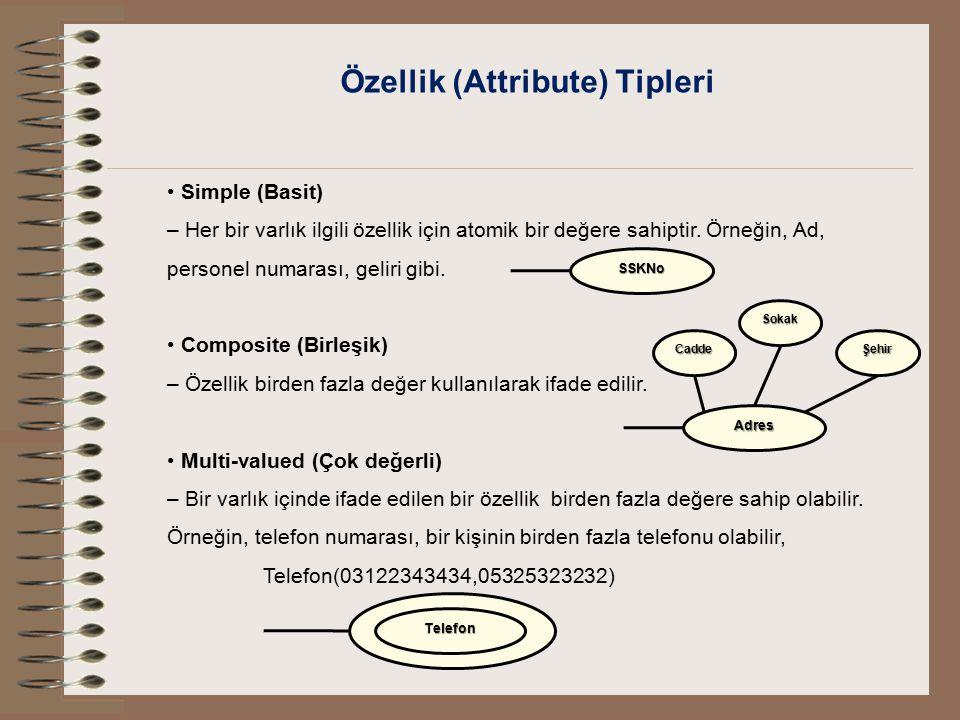 Özellik (Attribute) Tipleri Simple (Basit) – Her bir varlık ilgili özellik için atomik bir değere sahiptir. Örneğin, Ad, personel numarası, geliri gib