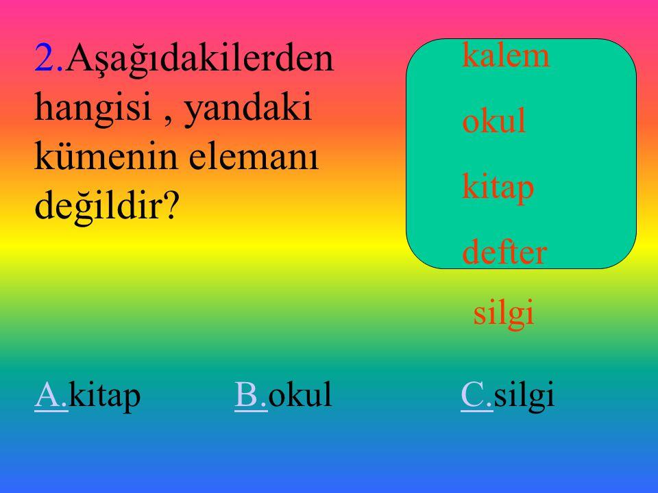 ALIŞTIRMALAR 1.Aşağıdaki kümelerden eleman sayısı en büyük olan hangisidir.