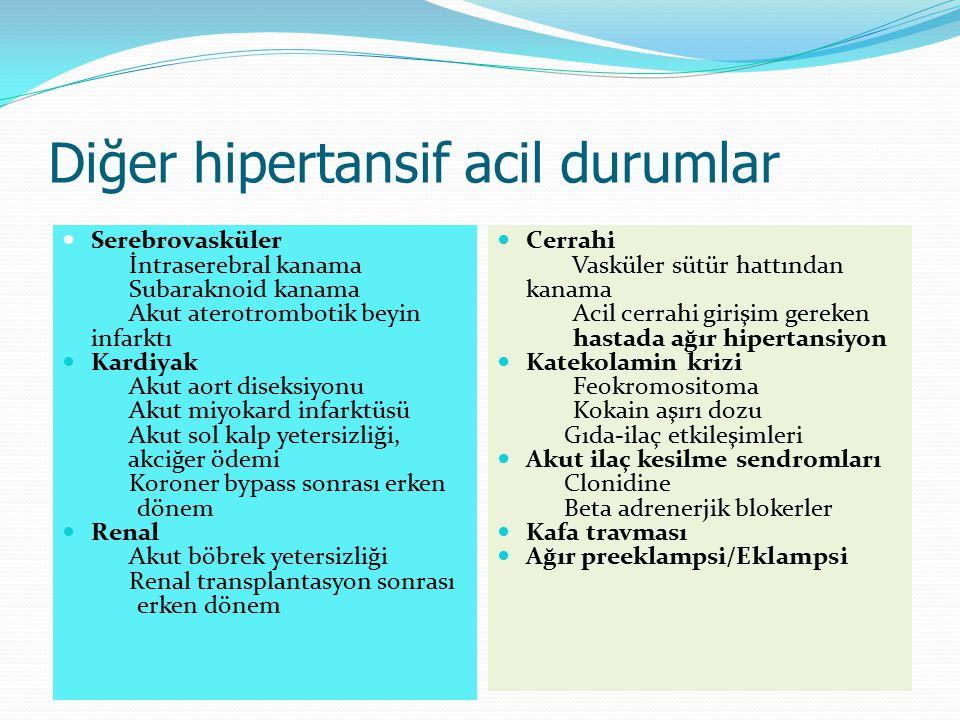 Diğer hipertansif acil durumlar Serebrovasküler İntraserebral kanama Subaraknoid kanama Akut aterotrombotik beyin infarktı Kardiyak Akut aort diseksiy