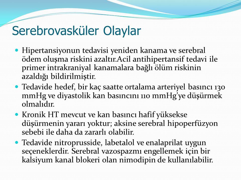 Serebrovasküler Olaylar Hipertansiyonun tedavisi yeniden kanama ve serebral ödem oluşma riskini azaltır.Acil antihipertansif tedavi ile primer intrakr