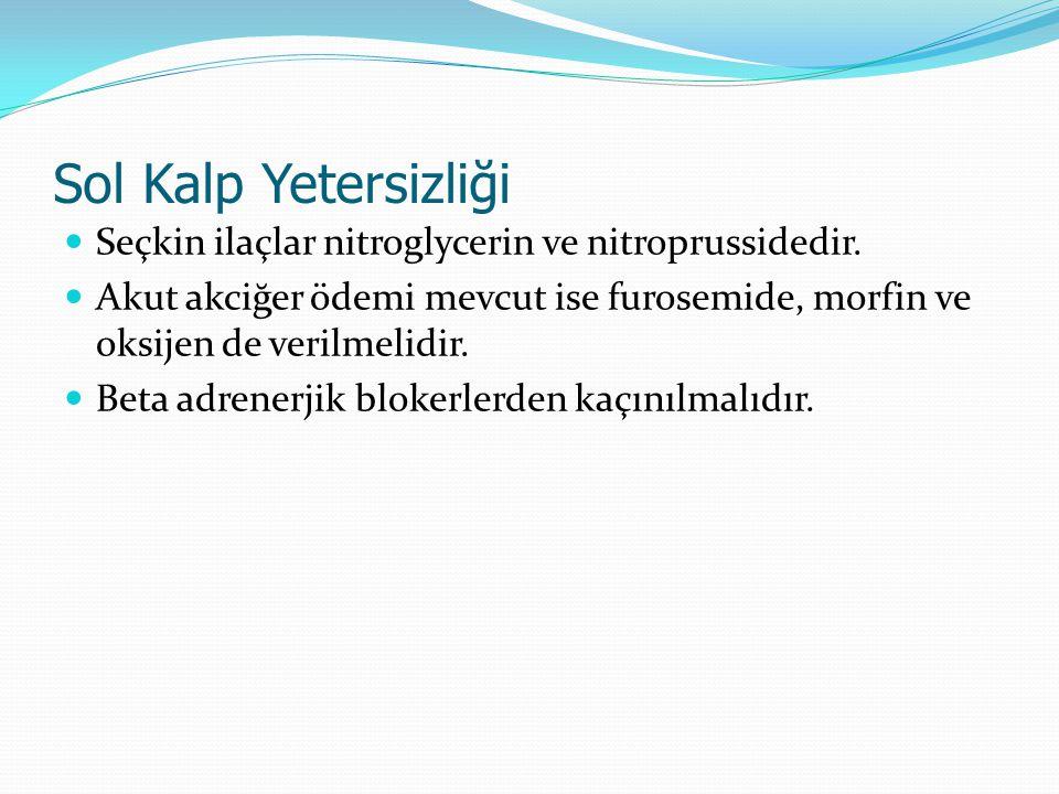 Sol Kalp Yetersizliği Seçkin ilaçlar nitroglycerin ve nitroprussidedir. Akut akciğer ödemi mevcut ise furosemide, morfin ve oksijen de verilmelidir. B