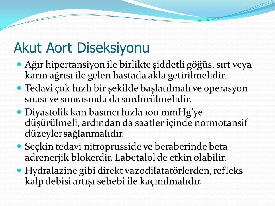Akut Aort Diseksiyonu Ağır hipertansiyon ile birlikte şiddetli göğüs, sırt veya karın ağrısı ile gelen hastada akla getirilmelidir. Tedavi çok hızlı b