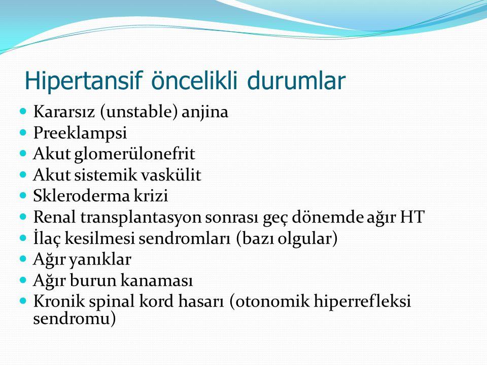 Hipertansif öncelikli durumlar Kararsız (unstable) anjina Preeklampsi Akut glomerülonefrit Akut sistemik vaskülit Skleroderma krizi Renal transplantas