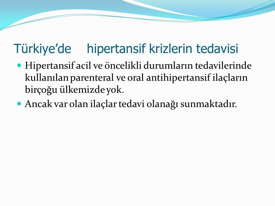 Türkiye'de hipertansif krizlerin tedavisi Hipertansif acil ve öncelikli durumların tedavilerinde kullanılan parenteral ve oral antihipertansif ilaçlar