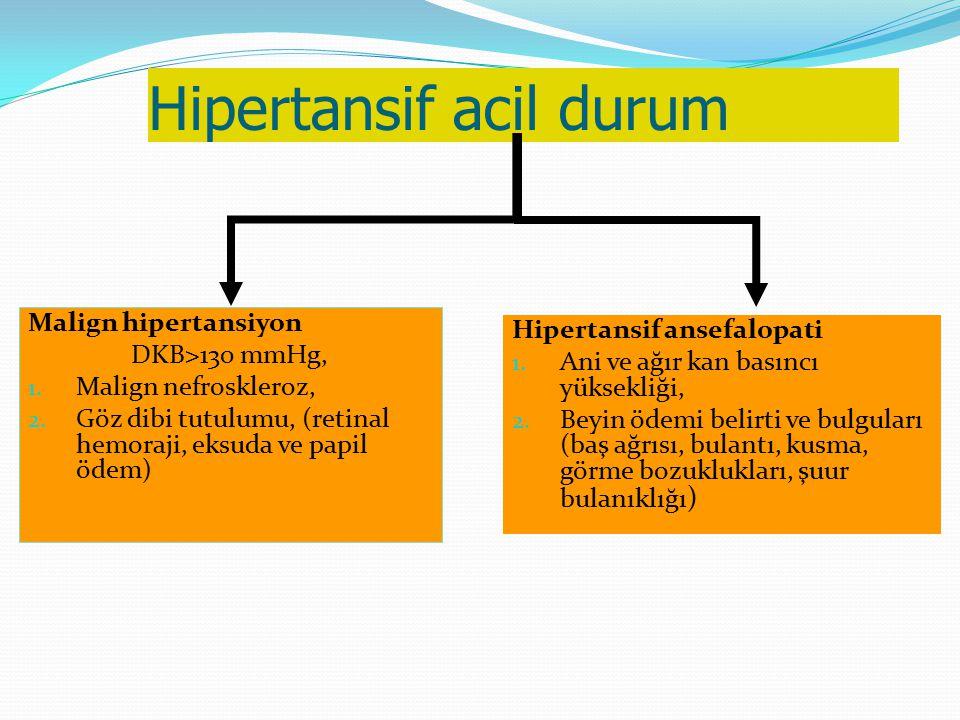 Hipertansif acil durum Malign hipertansiyon DKB>130 mmHg, 1. Malign nefroskleroz, 2. Göz dibi tutulumu, (retinal hemoraji, eksuda ve papil ödem) Hiper