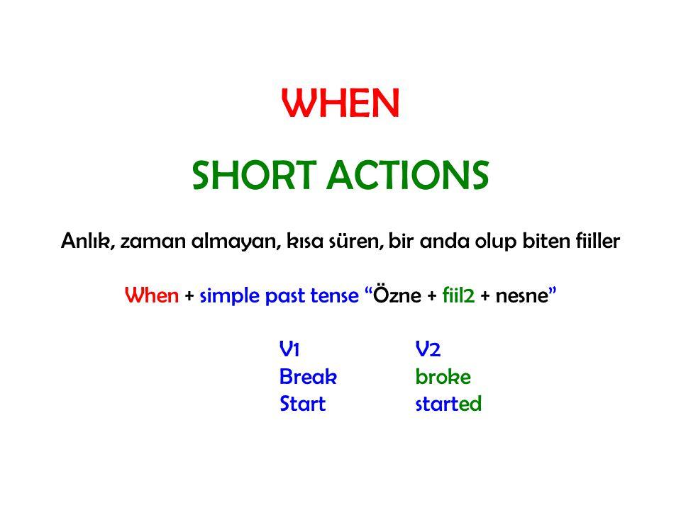 WHEN SHORT ACTIONS Anlık, zaman almayan, kısa süren, bir anda olup biten fiiller When + simple past tense Özne + fiil2 + nesne V1V2 Breakbroke Startstarted