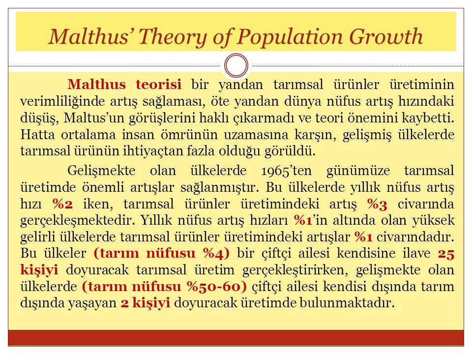 Malthus teorisi bir yandan tarımsal ürünler üretiminin verimliliğinde artış sağlaması, öte yandan dünya nüfus artış hızındaki düşüş, Maltus'un görüşle