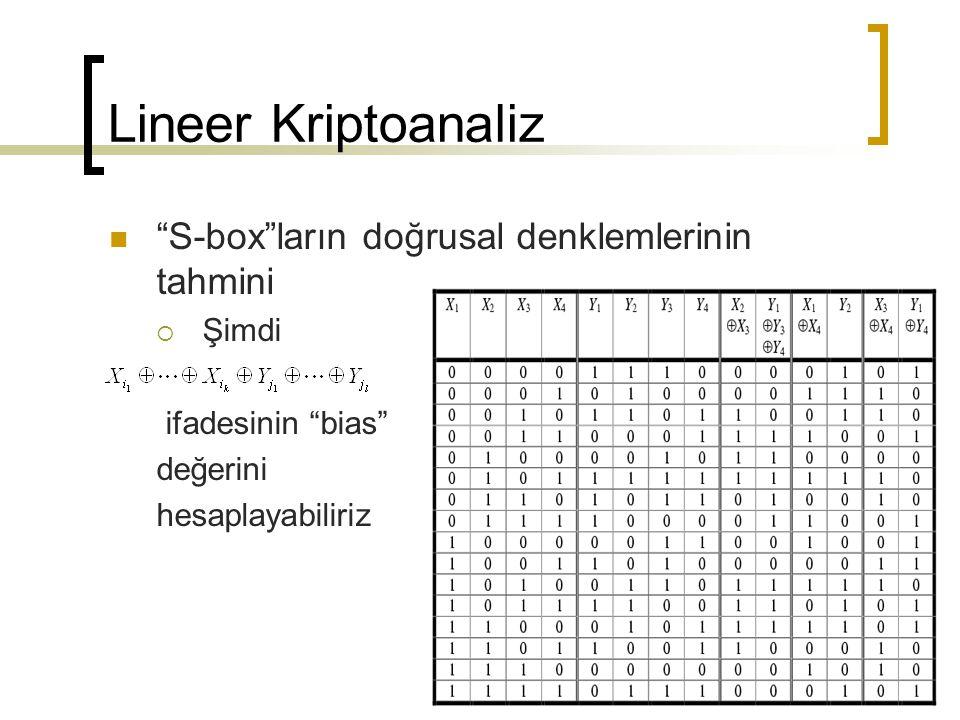 Lineer Kriptoanaliz S-box ların doğrusal denklemlerinin tahmini  Şimdi ifadesinin bias değerini hesaplayabiliriz