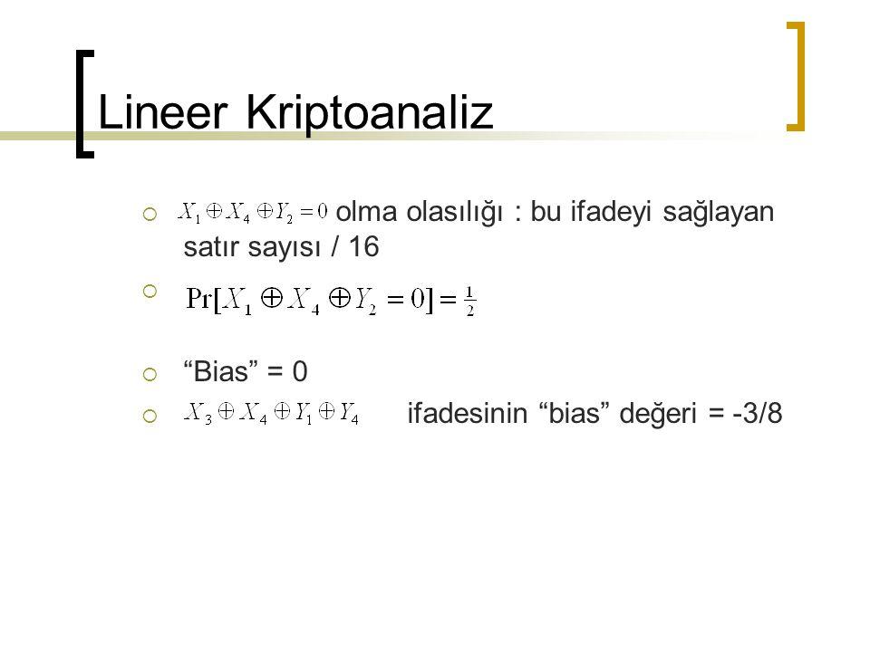 """Lineer Kriptoanaliz  olma olasılığı : bu ifadeyi sağlayan satır sayısı / 16   """"Bias"""" = 0  ifadesinin """"bias"""" değeri = -3/8"""