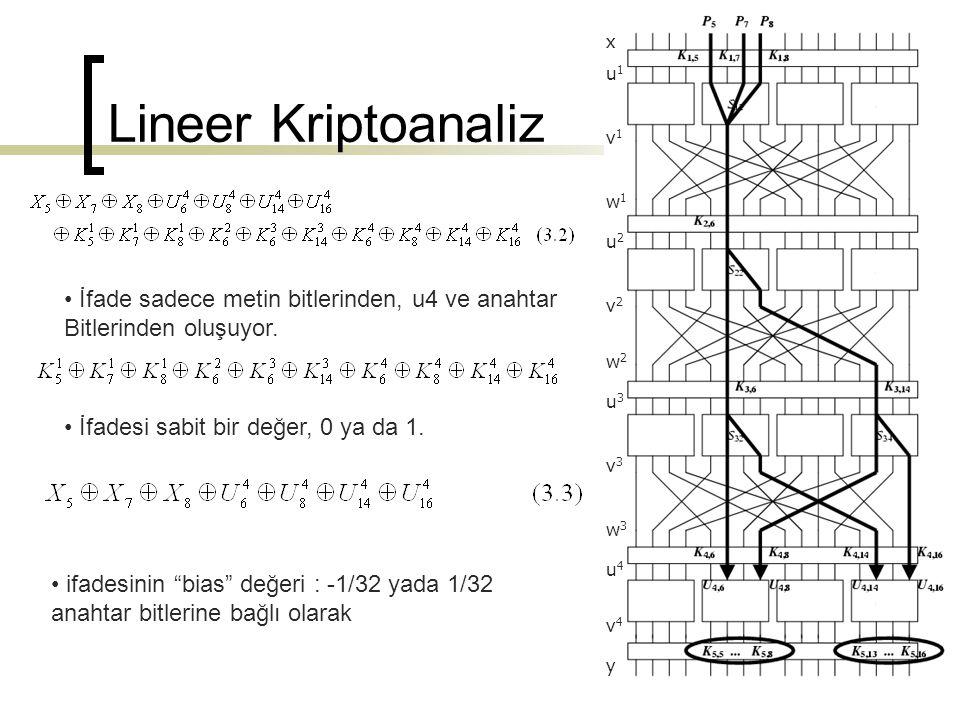 x v1v1 u1u1 w1w1 u2u2 v2v2 w2w2 u3u3 v3v3 w3w3 u4u4 v4v4 y İfade sadece metin bitlerinden, u4 ve anahtar Bitlerinden oluşuyor. İfadesi sabit bir değer