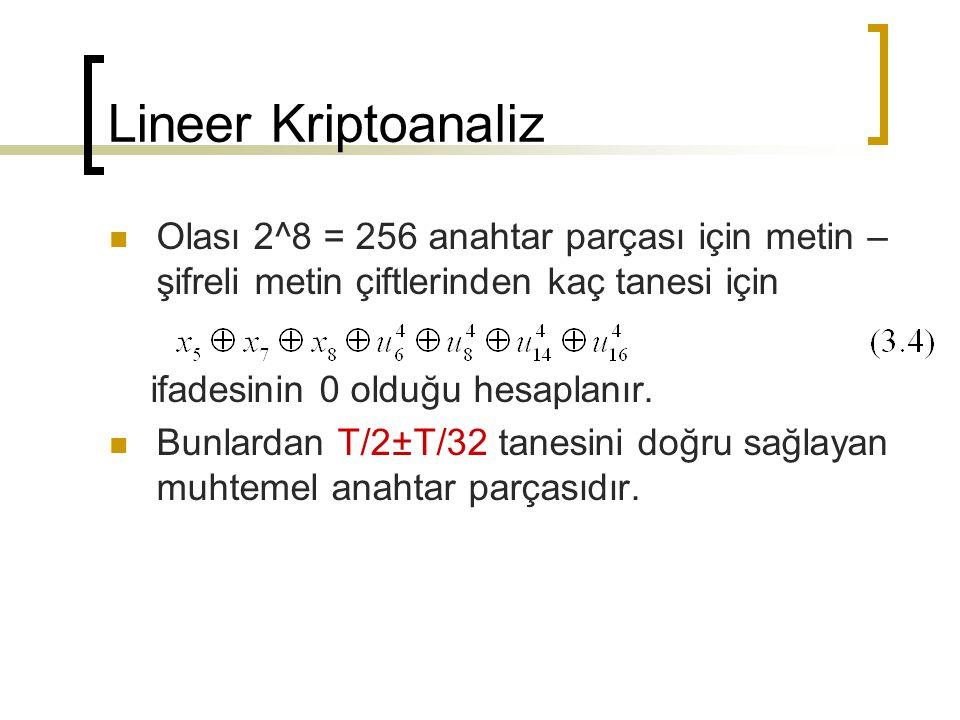 Lineer Kriptoanaliz Olası 2^8 = 256 anahtar parçası için metin – şifreli metin çiftlerinden kaç tanesi için ifadesinin 0 olduğu hesaplanır. Bunlardan
