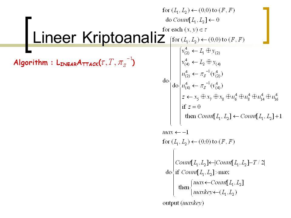 Lineer Kriptoanaliz Algorithm : L INEAR A TTACK ( )