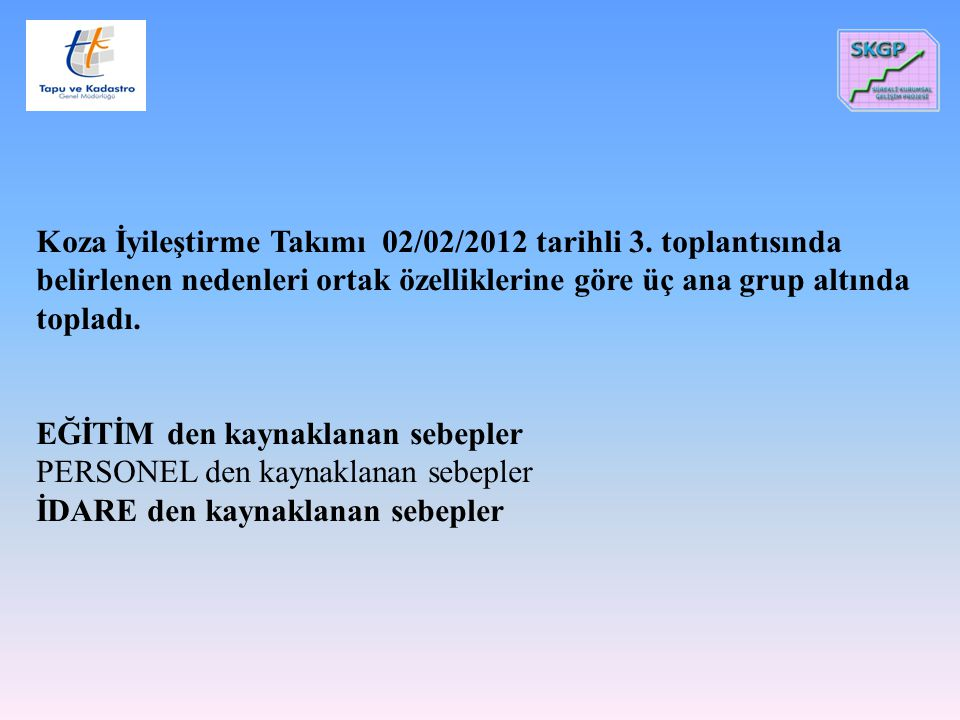 Koza İyileştirme Takımı 02/02/2012 tarihli 3. toplantısında belirlenen nedenleri ortak özelliklerine göre üç ana grup altında topladı. EĞİTİM den kayn