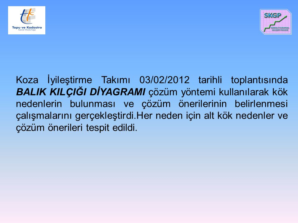 Koza İyileştirme Takımı 03/02/2012 tarihli toplantısında BALIK KILÇIĞI DİYAGRAMI çözüm yöntemi kullanılarak kök nedenlerin bulunması ve çözüm öneriler