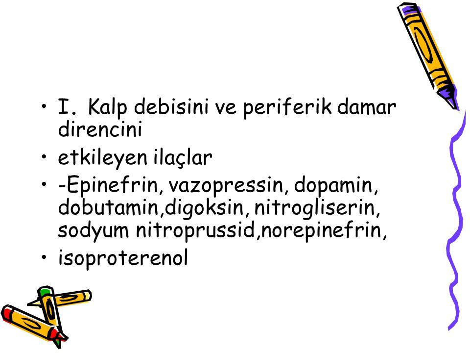 I. Kalp debisini ve periferik damar direncini etkileyen ilaçlar -Epinefrin, vazopressin, dopamin, dobutamin,digoksin, nitrogliserin, sodyum nitropruss