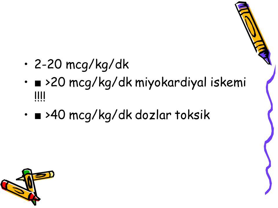 2-20 mcg/kg/dk ■ >20 mcg/kg/dk miyokardiyal iskemi !!!! ■ >40 mcg/kg/dk dozlar toksik