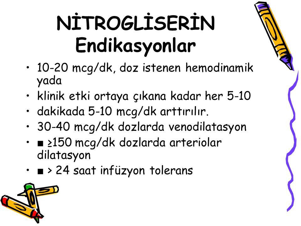 NİTROGLİSERİN Endikasyonlar 10-20 mcg/dk, doz istenen hemodinamik yada klinik etki ortaya çıkana kadar her 5-10 dakikada 5-10 mcg/dk arttırılır. 30-40