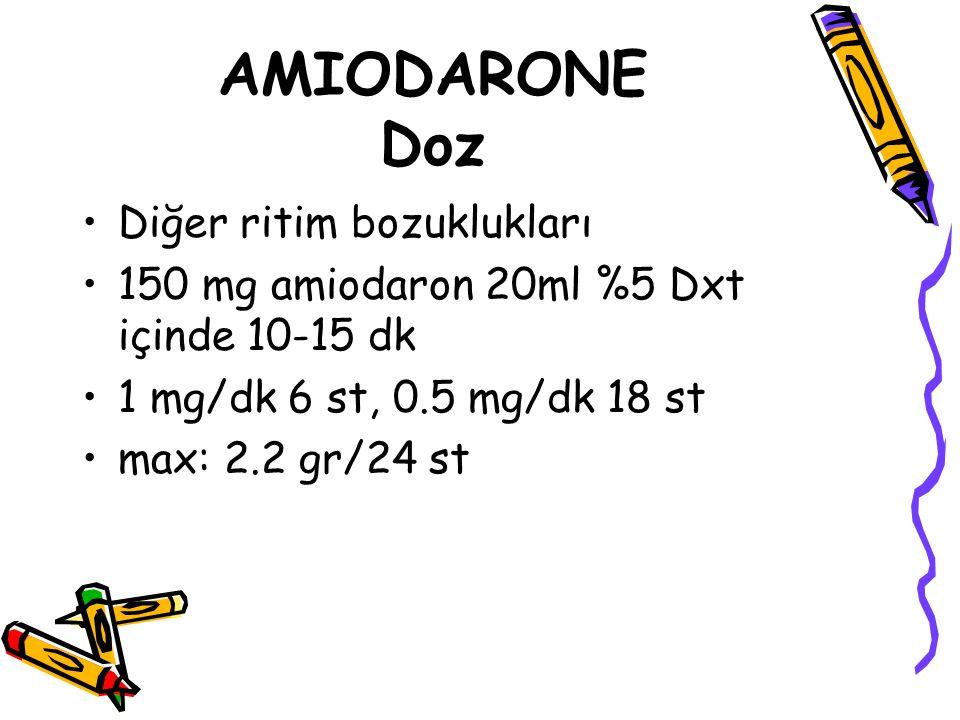 AMIODARONE Doz Diğer ritim bozuklukları 150 mg amiodaron 20ml %5 Dxt içinde 10-15 dk 1 mg/dk 6 st, 0.5 mg/dk 18 st max: 2.2 gr/24 st