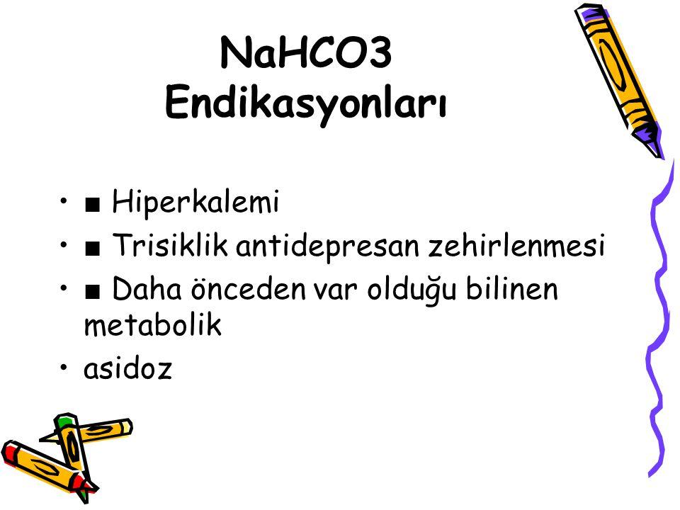 NaHCO3 Endikasyonları ■ Hiperkalemi ■ Trisiklik antidepresan zehirlenmesi ■ Daha önceden var olduğu bilinen metabolik asidoz