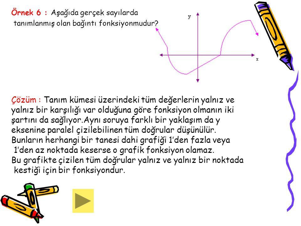 Örnek 6 : Aşağıda gerçek sayılarda tanımlanmış olan bağıntı fonksiyonmudur? Çözüm : Tanım kümesi üzerindeki tüm değerlerin yalnız ve yalnız bir karşıl