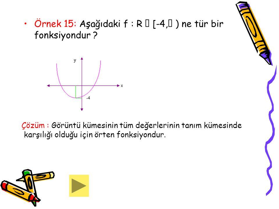 Örnek 15: Aşağıdaki f : R  [-4,  ) ne tür bir fonksiyondur ? Çözüm : Görüntü kümesinin tüm değerlerinin tanım kümesinde karşılığı olduğu için örten