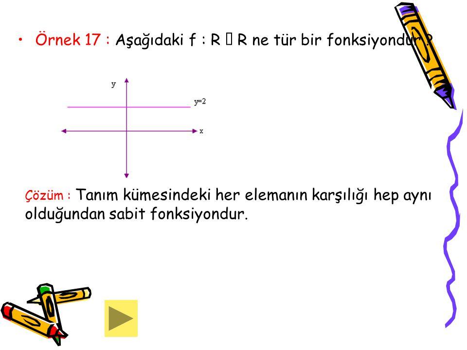 Örnek 17 : Aşağıdaki f : R  R ne tür bir fonksiyondur ? Çözüm : Tanım kümesindeki her elemanın karşılığı hep aynı olduğundan sabit fonksiyondur.