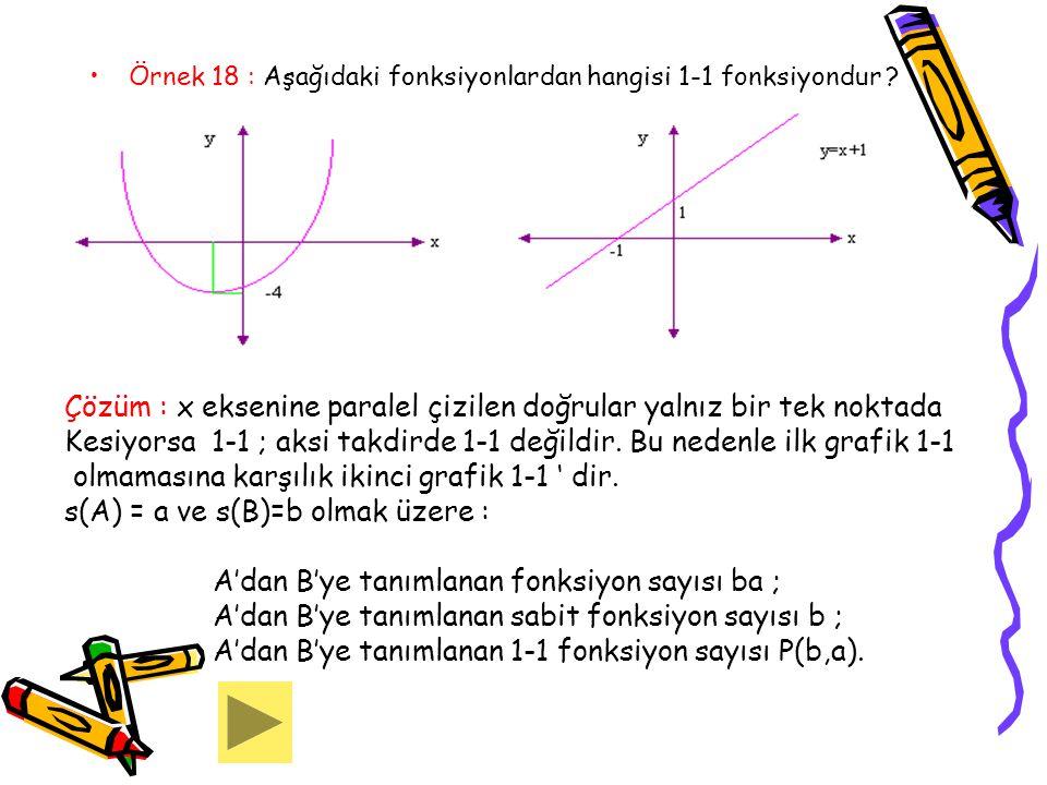 Örnek 18 : Aşağıdaki fonksiyonlardan hangisi 1-1 fonksiyondur ? Çözüm : x eksenine paralel çizilen doğrular yalnız bir tek noktada Kesiyorsa 1-1 ; aks