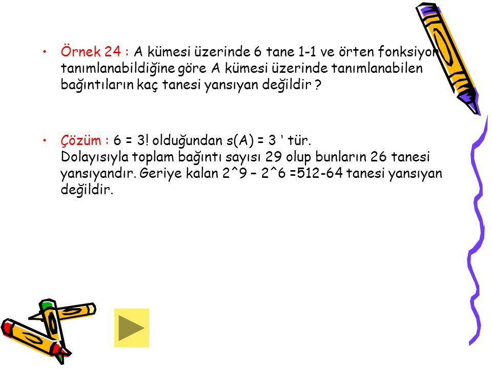 Örnek 24 : A kümesi üzerinde 6 tane 1-1 ve örten fonksiyon tanımlanabildiğine göre A kümesi üzerinde tanımlanabilen bağıntıların kaç tanesi yansıyan d