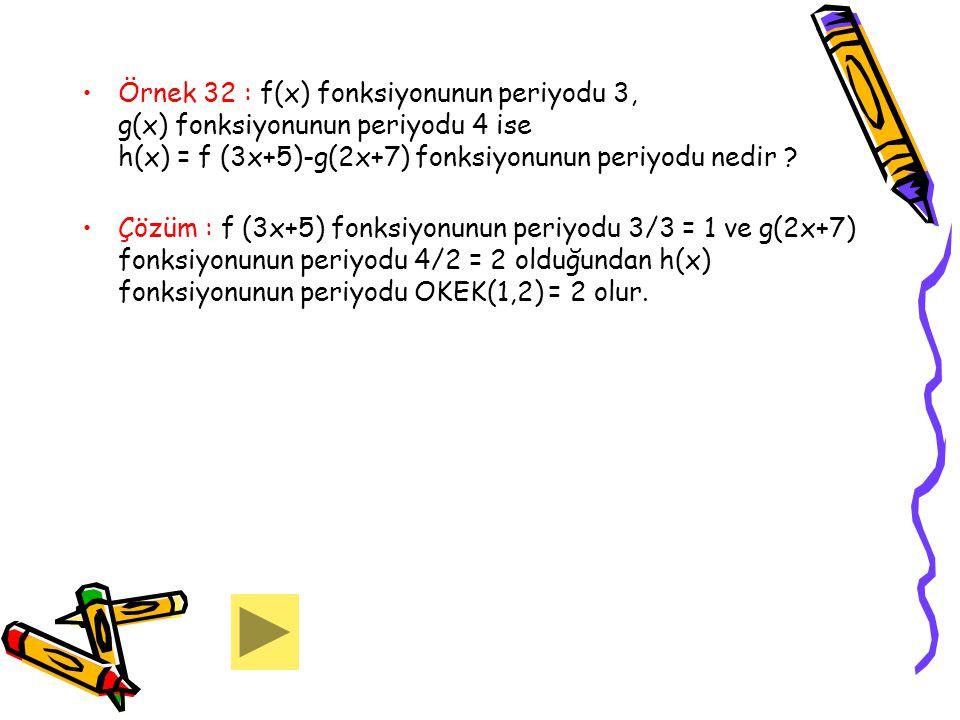 Örnek 32 : f(x) fonksiyonunun periyodu 3, g(x) fonksiyonunun periyodu 4 ise h(x) = f (3x+5)-g(2x+7) fonksiyonunun periyodu nedir ? Çözüm : f (3x+5) fo