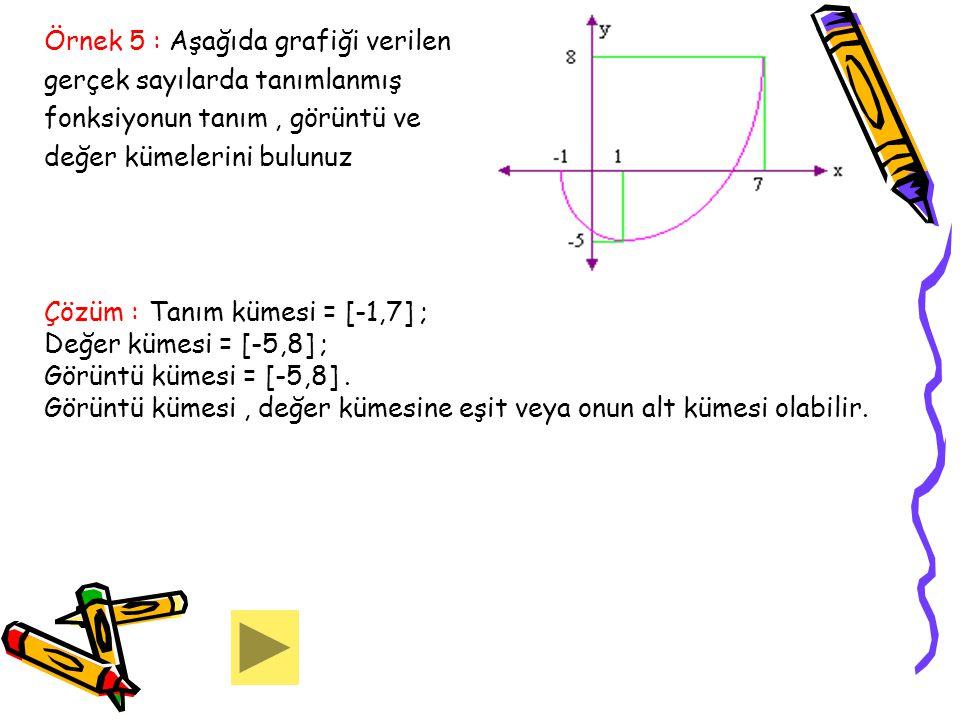 Örnek 5 : Aşağıda grafiği verilen gerçek sayılarda tanımlanmış fonksiyonun tanım, görüntü ve değer kümelerini bulunuz Çözüm : Tanım kümesi = [-1,7] ;