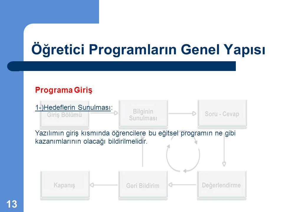 Öğretici Programların Genel Yapısı Programa Giriş 1-)Hedeflerin Sunulması: Yazılımın giriş kısmında öğrencilere bu eğitsel programın ne gibi kazanımla