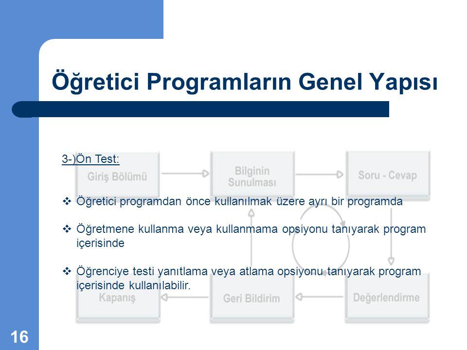 Öğretici Programların Genel Yapısı 3-)Ön Test:  Öğretici programdan önce kullanılmak üzere ayrı bir programda  Öğretmene kullanma veya kullanmama op