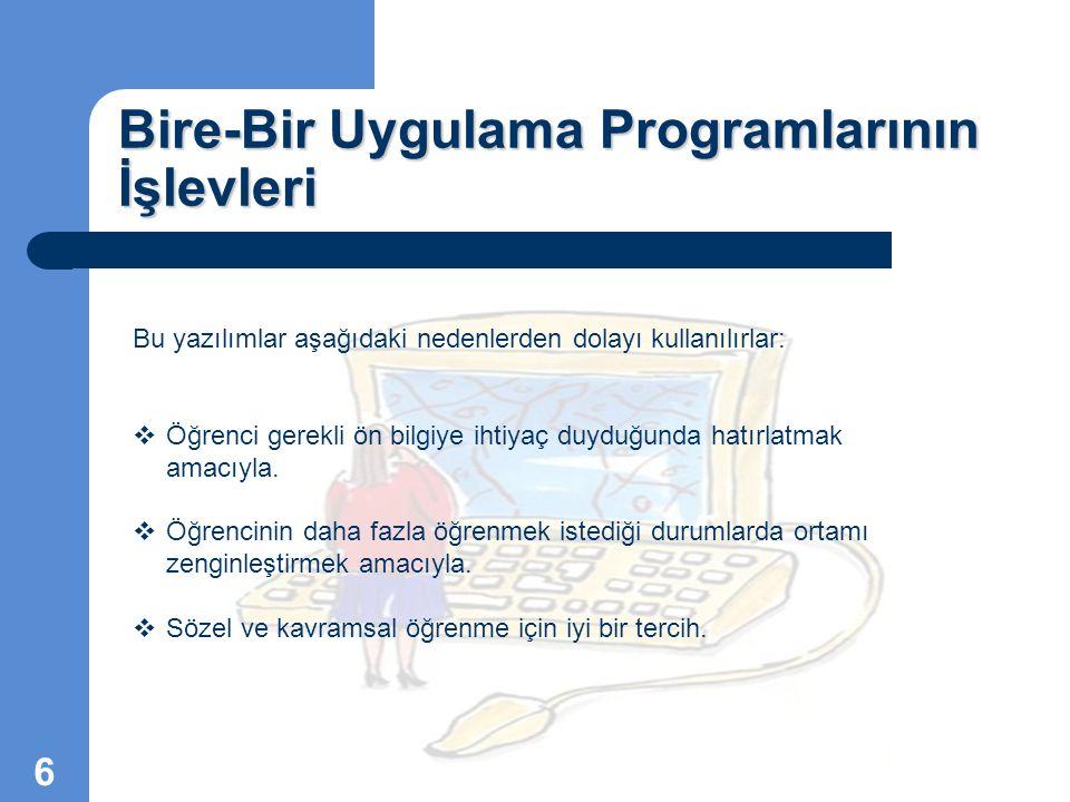 Bire-Bir Uygulama Programlarının İşlevleri Bu yazılımlar aşağıdaki nedenlerden dolayı kullanılırlar:  Öğrenci gerekli ön bilgiye ihtiyaç duyduğunda h