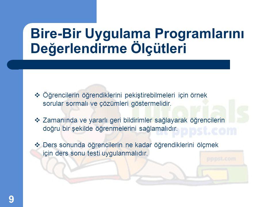 Bire-Bir Uygulama Programlarını Değerlendirme Ölçütleri 10