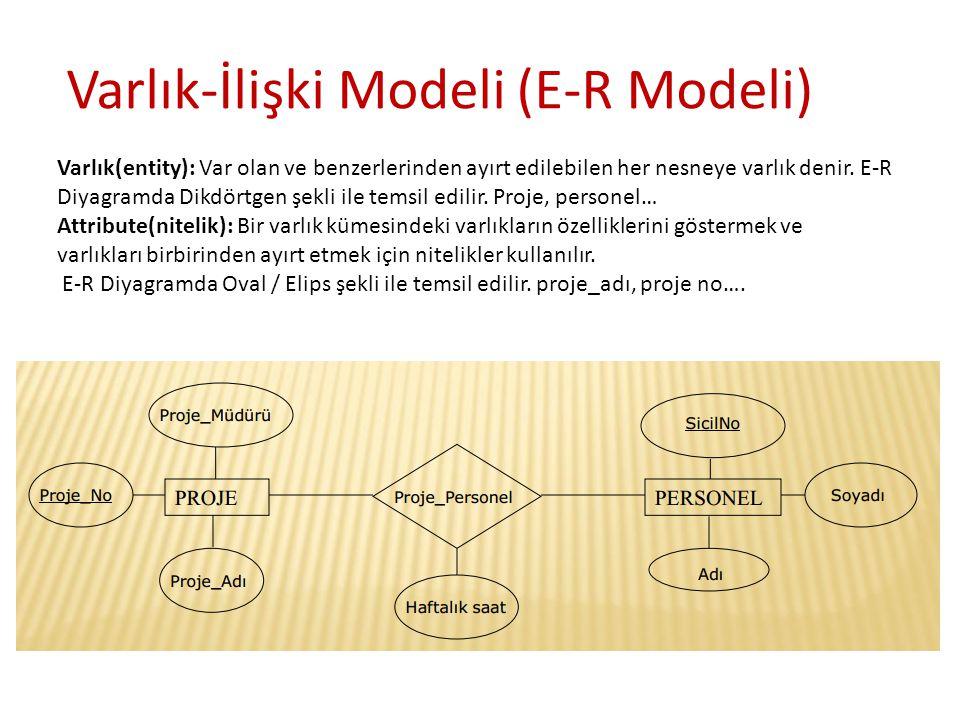 Varlık(entity): Var olan ve benzerlerinden ayırt edilebilen her nesneye varlık denir. E-R Diyagramda Dikdörtgen şekli ile temsil edilir. Proje, person