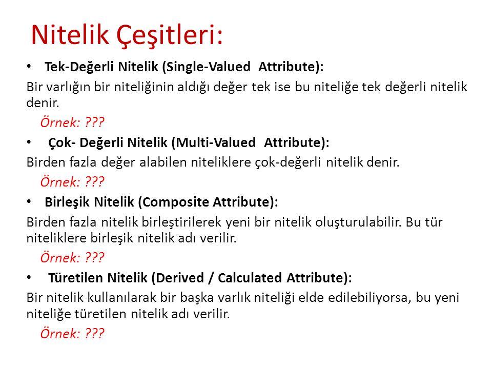 Nitelik Çeşitleri: Tek-Değerli Nitelik (Single-Valued Attribute): Bir varlığın bir niteliğinin aldığı değer tek ise bu niteliğe tek değerli nitelik denir.