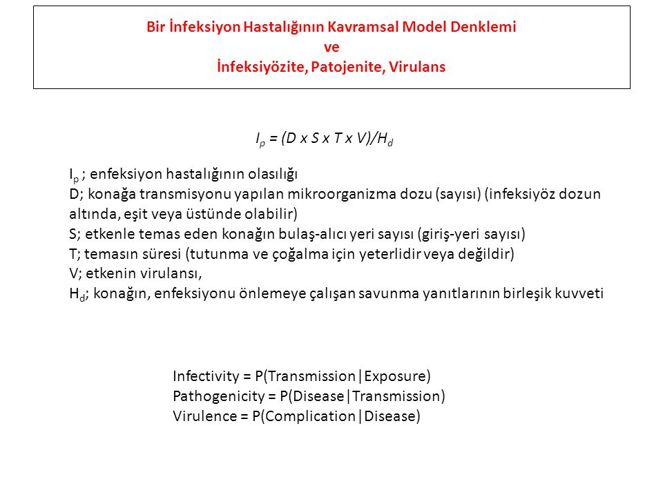 I p = (D x S x T x V)/H d I p ; enfeksiyon hastalığının olasılığı D; konağa transmisyonu yapılan mikroorganizma dozu (sayısı) (infeksiyöz dozun altında, eşit veya üstünde olabilir) S; etkenle temas eden konağın bulaş-alıcı yeri sayısı (giriş-yeri sayısı) T; temasın süresi (tutunma ve çoğalma için yeterlidir veya değildir) V; etkenin virulansı, H d ; konağın, enfeksiyonu önlemeye çalışan savunma yanıtlarının birleşik kuvveti Bir İnfeksiyon Hastalığının Kavramsal Model Denklemi ve İnfeksiyözite, Patojenite, Virulans Infectivity = P(Transmission|Exposure) Pathogenicity = P(Disease|Transmission) Virulence = P(Complication|Disease)