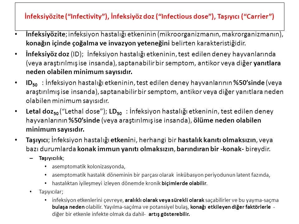 """İnfeksiyözite (""""Infectivity""""), İnfeksiyöz doz (""""Infectious dose""""), Taşıyıcı (""""Carrier"""") İnfeksiyözite; infeksiyon hastalığı etkeninin (mikroorganizman"""