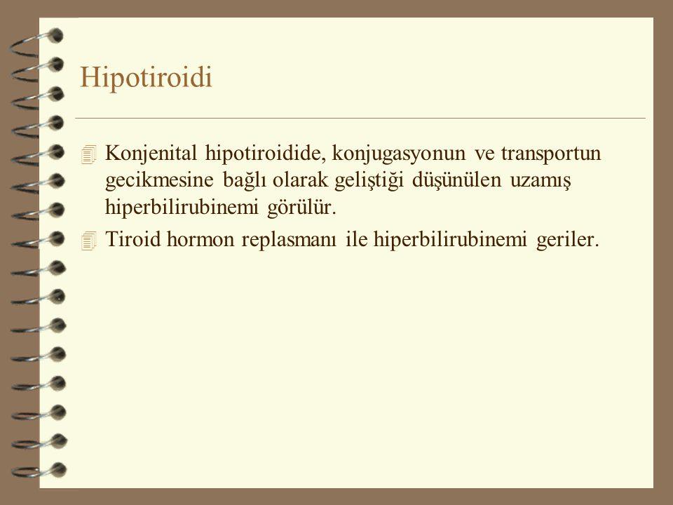 Hipotiroidi 4 Konjenital hipotiroidide, konjugasyonun ve transportun gecikmesine bağlı olarak geliştiği düşünülen uzamış hiperbilirubinemi görülür. 4